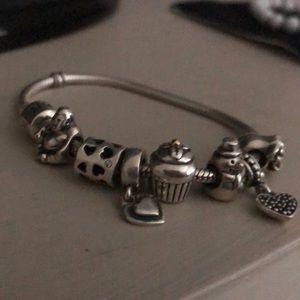 Pandora Jewelry - Silver Pandora Bracelet with 7 Charms